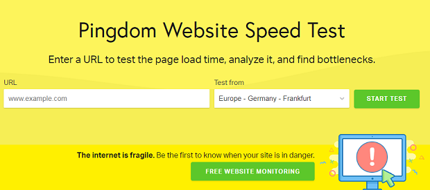 The bright yellow Pingdom homepage, with a url entry box and a drop-down selection of regions to test from