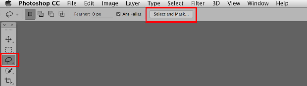 Photoshop, with the Select and Mask and Lasso tools highlighted