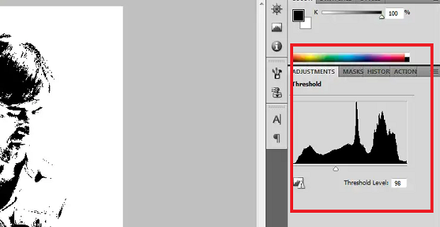 The threshold adjustment box highlighted in Photoshop