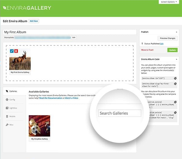 You can search your galleries from the album edit screen to find the ones you want to add.