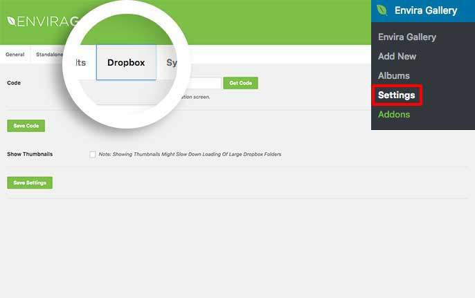 You'll need to get an authenticaion code in order to use the Dropbox Importer addon for Envira
