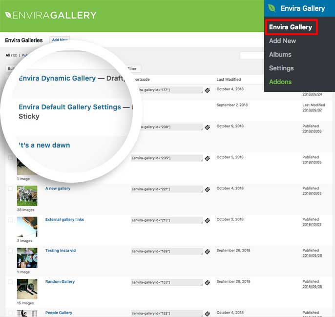 Edit the Envira Default Gallery Settings gallery to setup and use the Defaults Addon