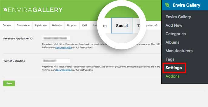 Enter your Facebook App ID and Twitter handle here on the Social tab under Envira Gallery Settings