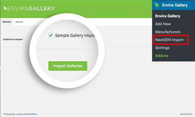 Navigate to the NextGen screen under Envira Gallery menu to being importing your NextGen galleries