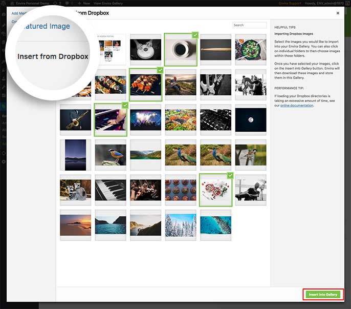 Select the images from your Dropbox account and insert them into your gallery