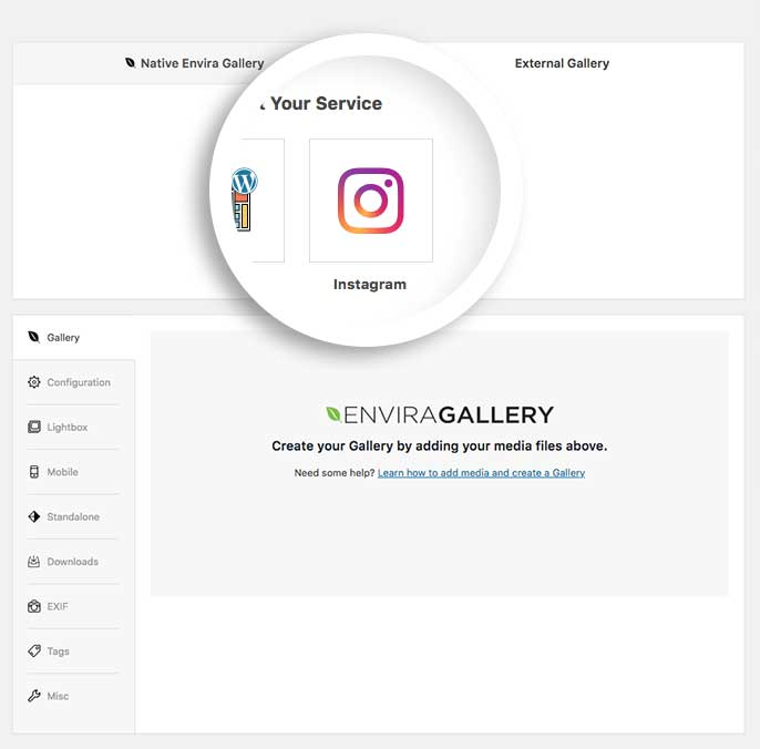 Select the Instagram icon from the External Gallery tab to create an Instagram gallery
