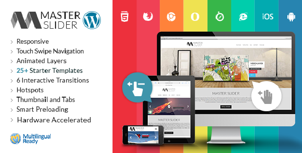 The Master Slider banner, showing some examples of carousels created with the plugin on a phone, tablet, and desktop