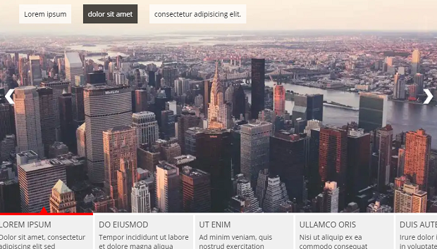 A carousel created with Slider Pro Lite, displaying an image of a large city-scape