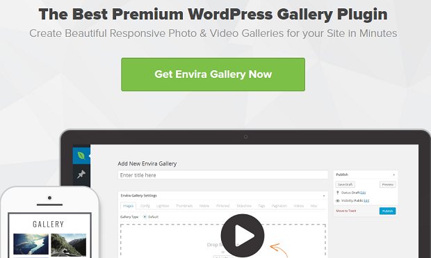 The Envira Gallery banner, showing the WordPress back end on a deskptop and an example gallery on mobile