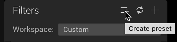 The filters tab of Luminar, with the create preset button highlighted