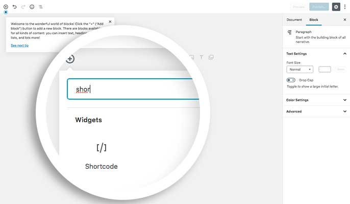 In the search box either type in Shortcode to search for the block or just open up the Widgets section to select the Shortcode block to add