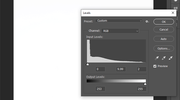 Levels sliders dialog box