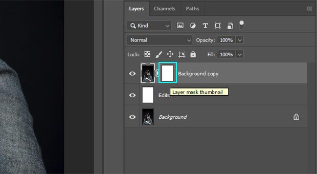 Layer mask thumbnail in Layers Panel