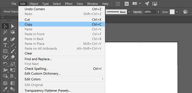 The Copy option in the Edit menu of Photoshop