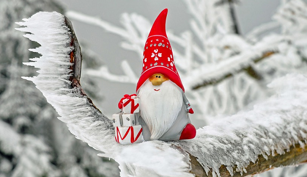 A gnome with a christmas hat sitting in a snowy tree