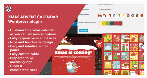 The Xmas Advent Calendar plugin, showing a settings page and an example advent calendar