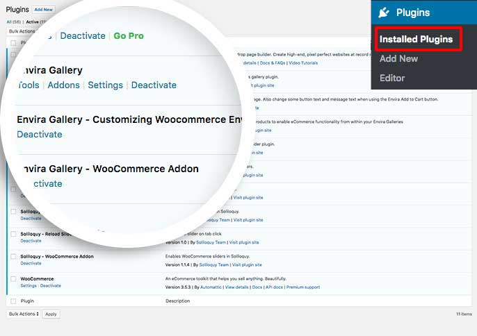 Activate the plugin to begin customizing some of the Woocommerce functionality on Envira galleries