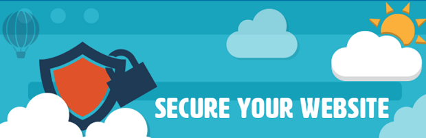 The All in One WP Security and Firewall plugin banner, with a shield and lock in front of a blue sky
