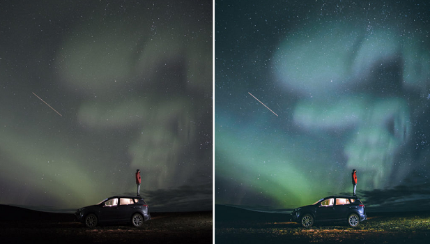 A before and after image of this preset, used on a car driving down a road with the northern lights in the background