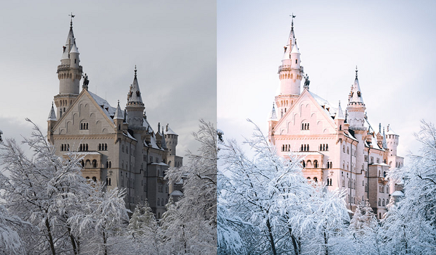 A before and after image of this preset, used on an image of a large castle in a snowy landscape