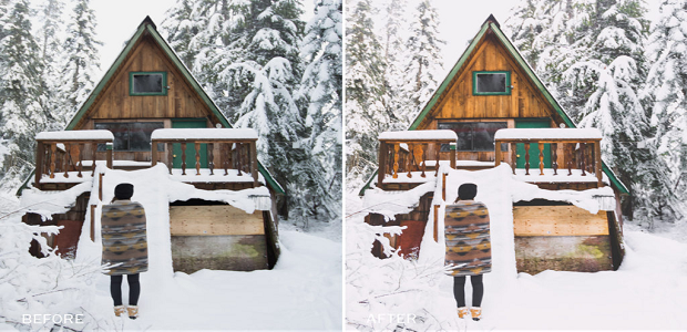 A before and after image of this preset, used on an image of a cabin in the snow