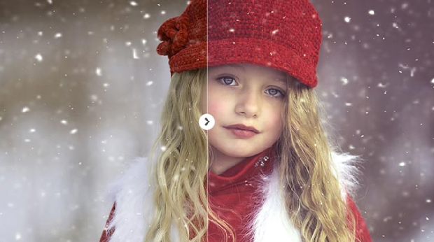 A before and after image of this preset, used on a girl out in the snow