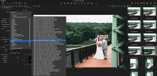 A drop-down of of different profiles for photo editing