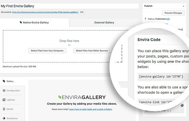 A close-up of the short code area for a newly created gallery made with Envira Gallery
