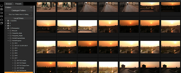 A folder full of wide landscape shots loaded into ON1's Photo RAW
