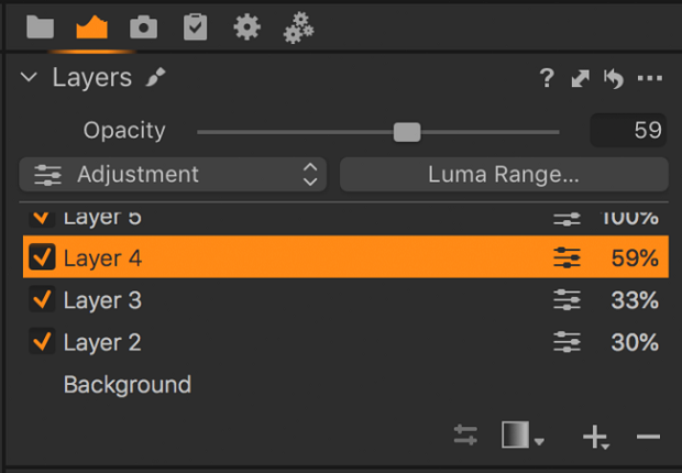 The layers section of Capture One, where you can toggle them on and off and adjust various settings