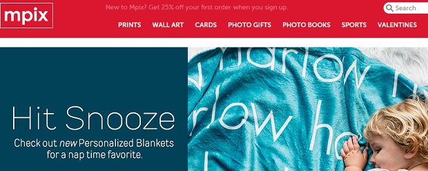 MPix's homepage, with a bright red banner and an image of a baby laying on a blue blanket