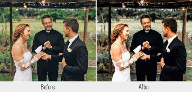 A before and after example of a Lightroom preset, used on a wedding picture of the bride and groom