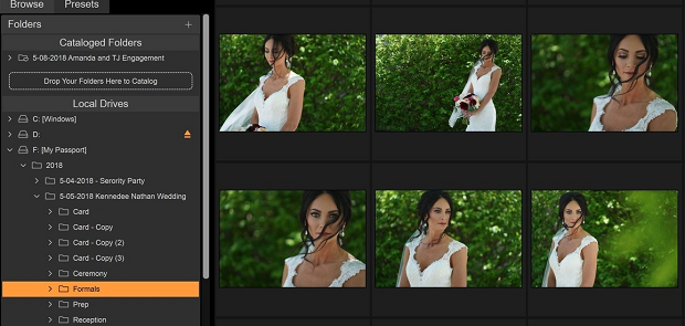 A set of wedding pictures loaded into On1