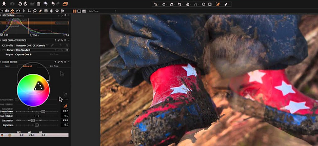 Various color editing options in the sidebar on Capture One