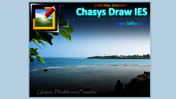 Chasys Draw IES banner, with a scenic beach in the background