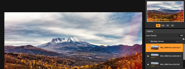 The layers section of ON1 Photo RAW, with an image of a scenic mountain open