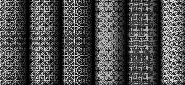 Several update black and white patterns lined up next to each other