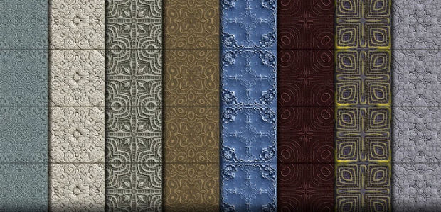 Vertical strips of different tiles textures lined up