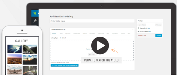 A new Envira Gallery being created in the WordPress backend, with an example gallery beside it shown on mobile