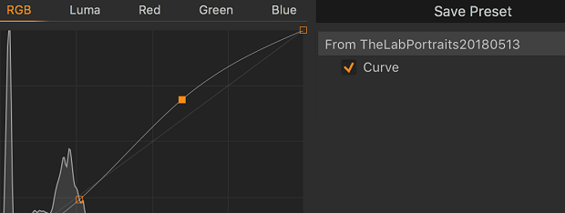 A graph showing the RGB adjustments of a Capture One preset