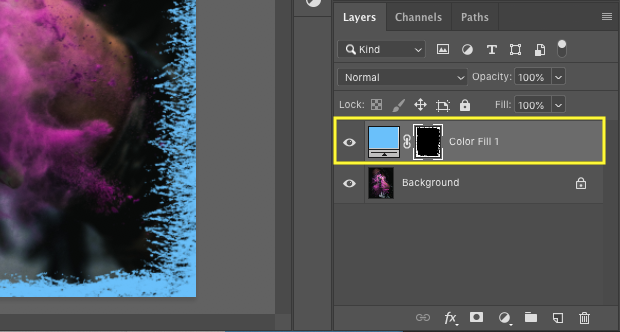 Layers panel with yellow box around solid layer and black layer mask