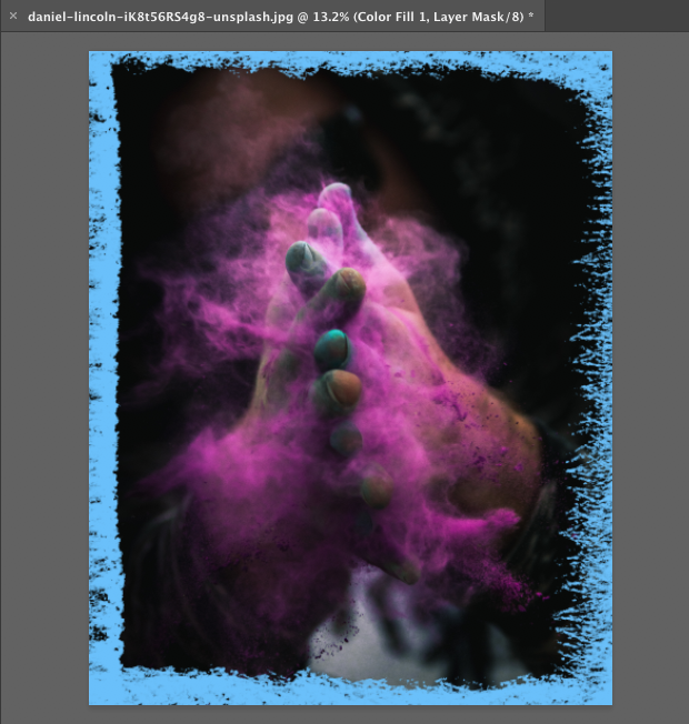 Image with blue chalk brush border