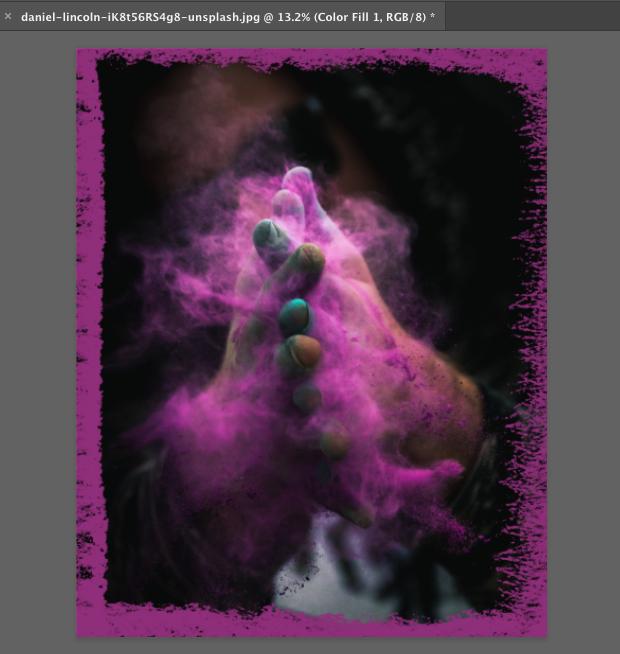 Image with pink chalk brush border