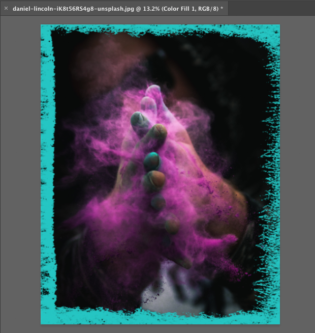 Image with teal chalk brush border
