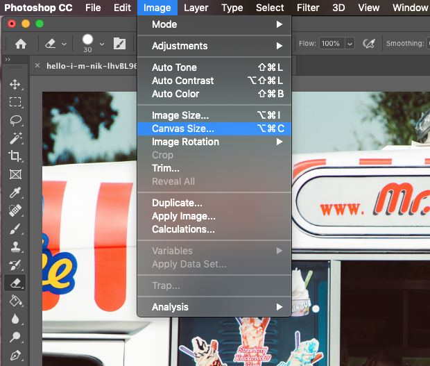 "Screenshot of Photoshop's Image menu extended and ""Canvas Size"" option highlighted"