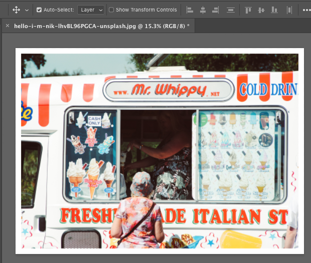 Image in Photoshop workspace surrounded by white border