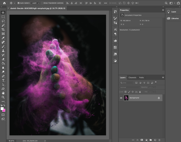 Vertical image in Photoshop's workspace