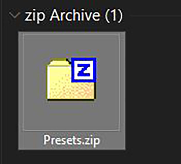 Lightroom presets downloaded to desktop as .zip folder