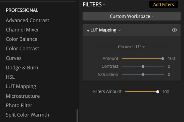 Lightroom filters menu