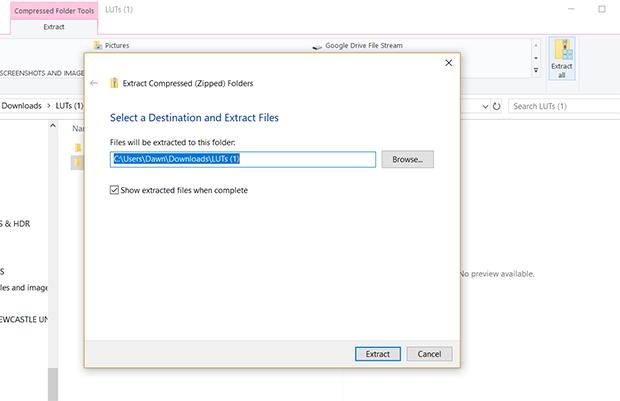 ZIP file of LUTs in Downloads folder on desktop device